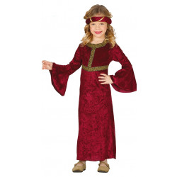 Disfraz de Dama Medieval Infantil - Disfraz de princesa roja para niña