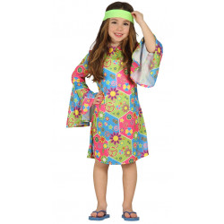 Disfraz de Chica Hippie para Niña - Vestido Hippie Infantil