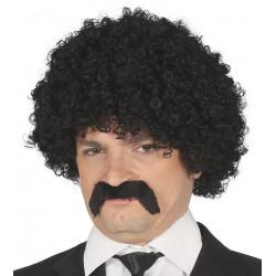 Peluca rizos negra con bigote