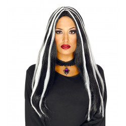 Peluca de bruja extra larga negra y blanco, 70 cm