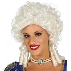Peluca blanca de marquesa - Peluca victoriana con tirabuzones y rizos