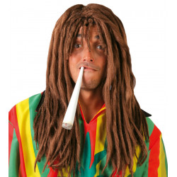 Peluca castaña con rastas - Peluca Hippie