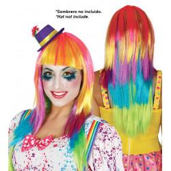 Peluca multicolor de payaso / Peluca lisa arcoíris