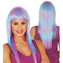 Peluca Arcoiris Azul / Violeta - Peluca lisa de payaso