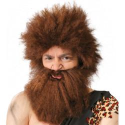 Peluca cavernícola con barba - Peluca de troglodita castaño