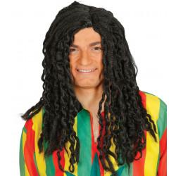 Peluca larga de rastas negra - Peluca hippie