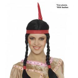 Peluca india con cinta y trenzas