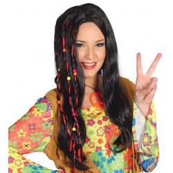 Peluca de hippie con cuentas y lazos - Peluca ondas negra larga
