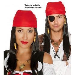 Peluca de pirata con pañuelo - Peluca lisa larga negra