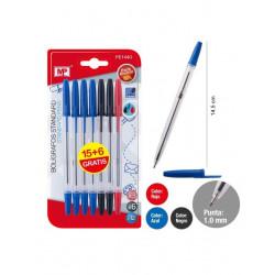 Pack 21 bolígrafos tinta negra, azul y roja. Pack ahorro escolar