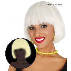 Peluca Corta Brilla en la Oscuridad - Peluca bob blanca