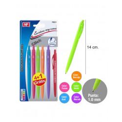 Pack 5 bolígrafos de escritura suave en tonos pastel. Pack ahorro 4+1