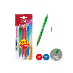 Pack 4 bolígrafos, Tinta azul. Pack ahorro 3+1