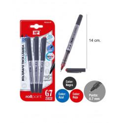 Pack ahorro bolígrafo tinta líquida, escritura especial. Punta de 0.7mm