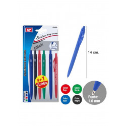 Pack 5 bolígrafos de escritura suave. Negro, rojo, verde y azul