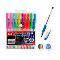 Pack 10 bolígrafos gel fluorescentes