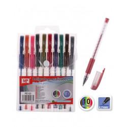 Pack 10 bolígrafos metálicos, tinta gel metálica