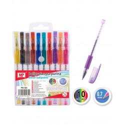 Pack 10 bolígrafos de colorines con purpurina. Bolígrafos de tinta gel