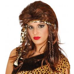 Peluca cavernícola con cinta - Peluca de mujer de las cavernas pelirroja