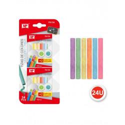 Pack Tizas de Colores para Pizarra Negra, 24 piezas