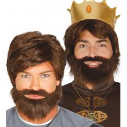 Peluca castaña con barba - Peluca de Rey Medieval