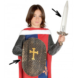 Escudo con espada medieval PVC infantil