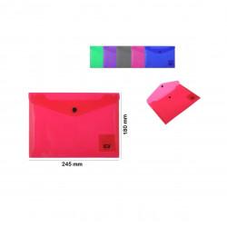 Sobre Plástico A5, Colores con Transparencia. Carpeta tipo sobre de plástico