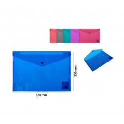 Carpeta A4 con botón, Varios Colores. Carpeta tipo sobre de plástico