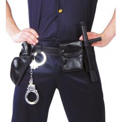 Cinturón de policía con accesorios. Cinturón, esposas, pistola y porra