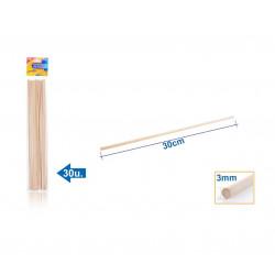 Palos de Madera 300x3mm. Palitos de madera para manualidades