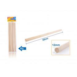 Palos de madera Ø12mm, 30 cm. Palos para manualidades