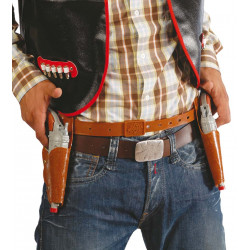 Cartuchera doble con 2 pistolas para vaquero / cowboy