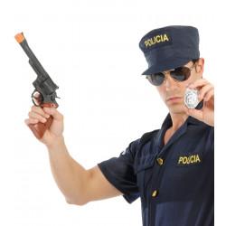 Pistola magnum con chapa de policía