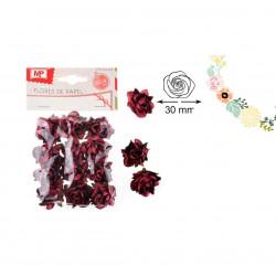 Set de flores de papel burdeos, 12 unidades. Rosas para scrapbooking
