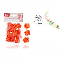 Set de Flores de Papel Naranja, 12 uds. Rosas para Scrapbooking