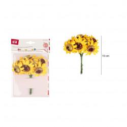 Girasoles de Papel, 6 Unidades. Ramo de flores amarillas