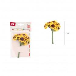 Ramo de Girasoles de Papel. Flores amarillas pequeñas, 6 unidades