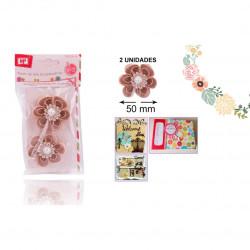 Flores de Tela, 2 Unidades. Flores de lino con perlas para Scrapbooking