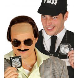 Placa policial colgante. Chapa de detective FBI