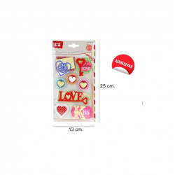 set de 8 pegatinas Corazones 3D, Mp