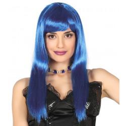 Peluca Melena Lisa Larga Azul Marino, Alta Calidad