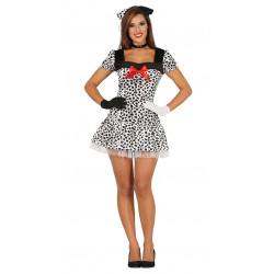 Disfraz de dálmata adulta. Vestido 101 Dálmatas para Carnavales