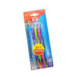Pack ahorro, 4 bolígrafos tinta de colorines