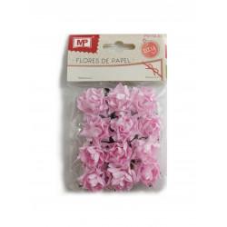 Flores de Papel Pequeñas, 12 Unidades Rosa. Rosas de Scrapbooking
