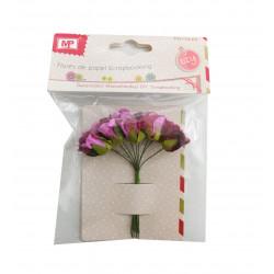 Flores de Papel Fucsia, 10 Unidades. Mini Ramo de Rosas Fucsia