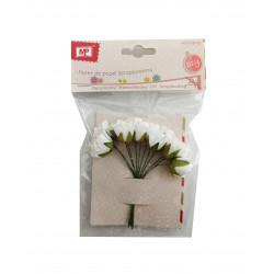 Flores Pequeñas Blancas de Papel,10 Unidades. Mini Ramo de Rosas Blancas