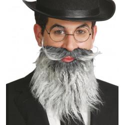 Barba de anciano canosa con bigote