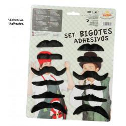 Set de 12 bigotes negros surtidos