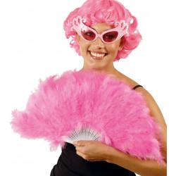 Abanico de plumas rosa