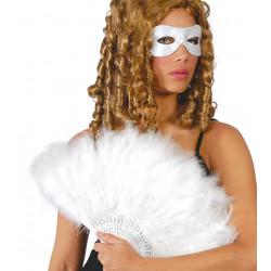 Abanico de plumas blanco